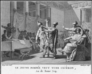 Pompeius' Son Sextus Pompeius Magnus Opposes Cicero's Policies and Threatens to Kill Him by Augustyn Mirys