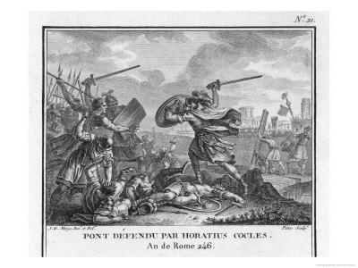 Publius Horatius Cocles and Two Companions Defend Tiber Bridge