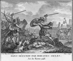Publius Horatius Cocles and Two Companions Defend Tiber Bridge by Augustyn Mirys