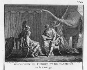 Pyrrhus King of Epirus Invading Italy Seeks to Impress the Roman Ambassador with His Elephants by Augustyn Mirys
