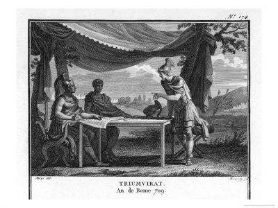 The Triumvirate, Marcus Antonius Octavius (Later Emperor Augustus) and Lepidus