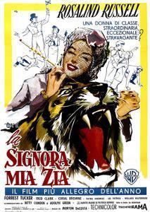 Auntie Mame, (AKA La Signora Mia Zia), Italian Poster Art, Rosalind Russell, 1958
