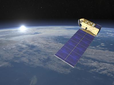 Aura Satellite Orbiting Earth and Rising Sun--Art Print