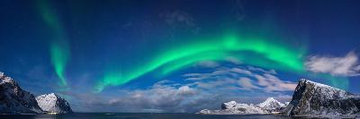 Aurora Borealis Above Flaget Bay, Lofoten, Nordland, Norway--Photographic Print