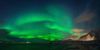 Aurora Borealis Above Ramberg, Lofoten, Nordland, Norway--Photographic Print