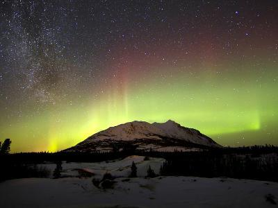 Aurora Borealis And Milky Way Over Carcross Dessert, Canada-Stocktrek Images-Photographic Print