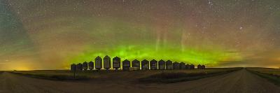 Aurora Borealis Behind Grain Bins on a Country Road in Alberta, Canada-Stocktrek Images-Photographic Print
