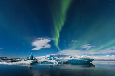 Aurora Borealis in Jokulsarlon, Iceland Ice Lagoon- simonekesh-Photographic Print
