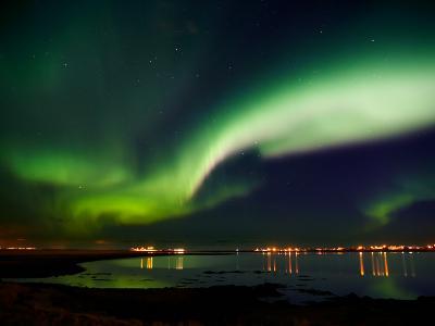 Aurora Borealis in the Sky, Alftanes, Reykjavik, Iceland--Photographic Print