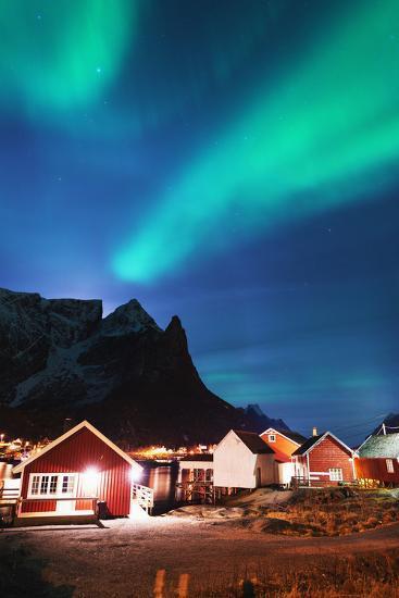 Aurora Borealis (Northern Lights), Reine, Moskenesoy, Lofoten Islands, Norway, Scandinavia, Europe-Christian Kober-Photographic Print
