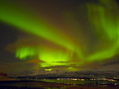 Aurora Borealis (Northern Lights) Seen over the Lyngen Alps, from Sjursnes, Ullsfjord, Troms, North-Neale Clark-Photographic Print