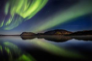 Aurora Borealis or Northern Lights at Lake Thingvallavatn, Thingvellir National Park