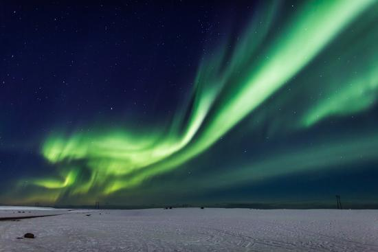 Aurora Borealis or Northern Lights, Iceland, Power Lines by the Jokulsarlon--Photographic Print