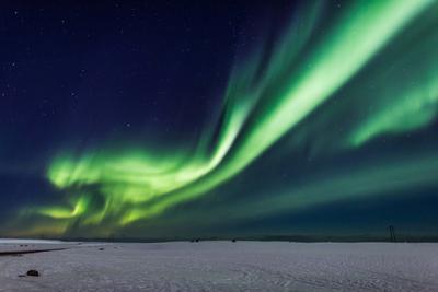 Aurora Borealis or Northern Lights, Iceland, Power Lines by the Jokulsarlon