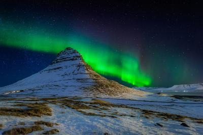 Aurora Borealis or Northern Lights over Mt Kirkjufell, Snaefellsnes Peninsula, Iceland--Photographic Print