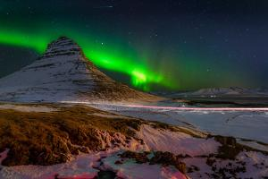 Aurora Borealis or Northern Lights over Mt Kirkjufell, Snaefellsnes Peninsula, Iceland