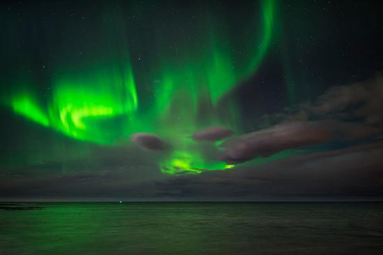 Aurora Borealis or Northern Lights, Reykjavik, Iceland--Photographic Print