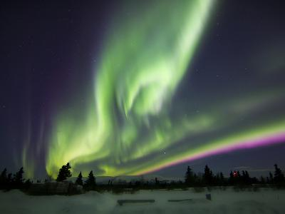 Aurora Borealis Over a Ranch, Whitehorse, Yukon, Canada-Stocktrek Images-Photographic Print