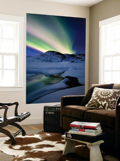 Aurora Borealis over Mikkelfjellet Mountain in Troms County, Norway-Stocktrek Images-Wall Mural