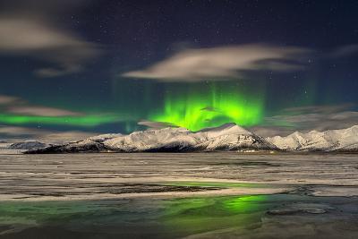 Aurora Borealis over Mt Hoffell, Hoffellsjokul Glacier, Iceland-Arctic-Images-Photographic Print