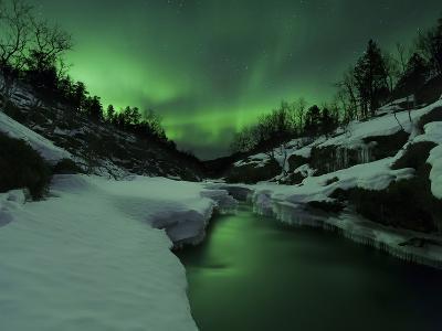 Aurora Borealis Over Tennevik River, Troms, Norway-Stocktrek Images-Photographic Print