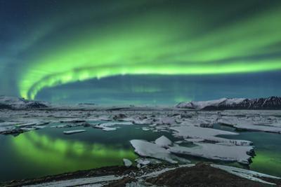 Aurora Borealis over the Glacial Lagoon Jokulsarlon in Iceland