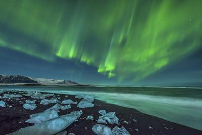 Aurora Borealis over the Ice Beach Near Jokulsarlon, Iceland