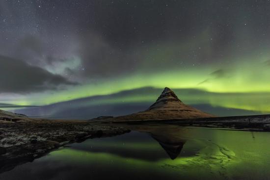 Aurora Borealis reflects below Kirkjufell, Snaefellsnes Peninsula, Iceland-Chuck Haney-Premium Photographic Print