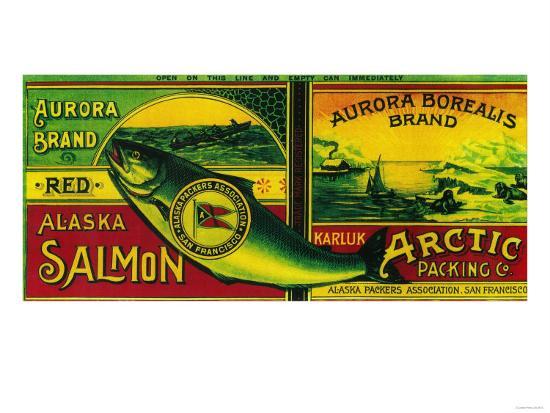 Aurora Borealis Salmon Can Label - Karluk, AK-Lantern Press-Art Print