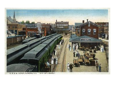 Aurora, Illinois - Chicago, Burlington, and Quincy Railroad Depot-Lantern Press-Art Print