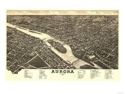 Aurora, Illinois - Panoramic Map-Lantern Press-Art Print