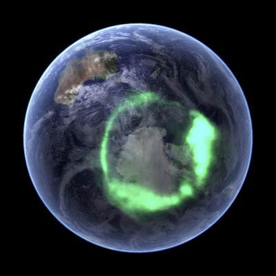 Aurora Over Antarctica, Satellite Image--Photographic Print