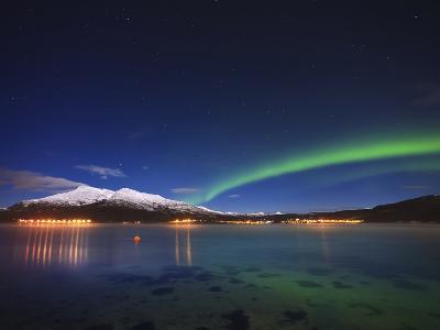 Aurora over Tjeldsundet and Sætertinden Mountain in Norway-Stocktrek Images-Photographic Print