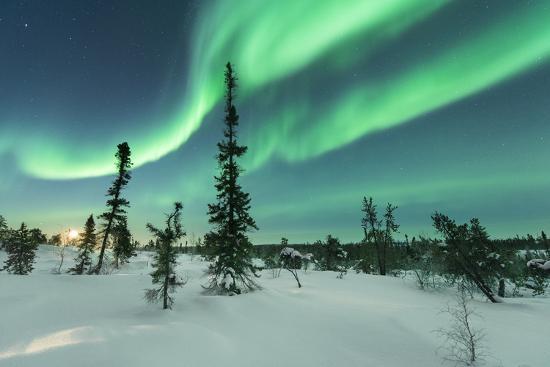 Aurora with Moon Rising-Michael Ericsson-Photographic Print