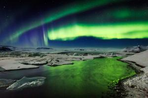 Auroras and Icebergs at the Glacial Lagoon, Jokulsarlon, Breidamerkurjokull, Vatnajokull Ice Cap