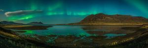 Auroras over Hraunsfjordur fjord, The lava fjord, Snaefellsnes peninsula, Iceland