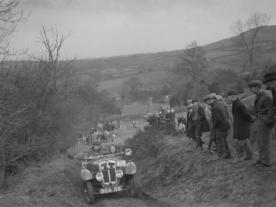 Austin 7 Grasshopper of CD Buckley competing at the MG Car Club Midland Centre Trial, 1938-Bill Brunell-Photographic Print