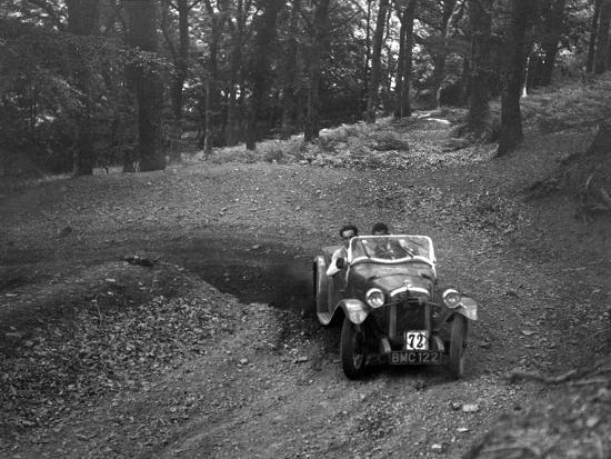 Austin 7 with Arrow body, B&HMC Brighton-Beer Trial, Fingle Bridge Hill, Devon, 1934-Bill Brunell-Photographic Print