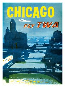 Chicago - Fly TWA Trans World Airlines - Bridges over the Chicago River by Austin Briggs