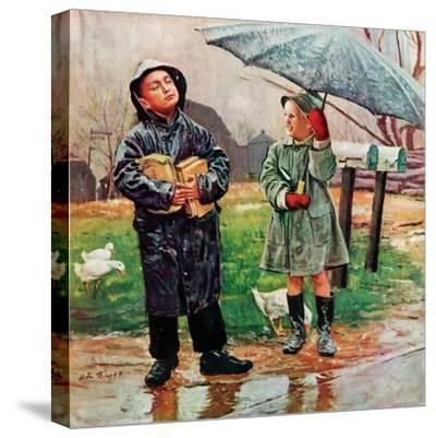 """Waiting for Bus in Rain,""April 1, 1948"