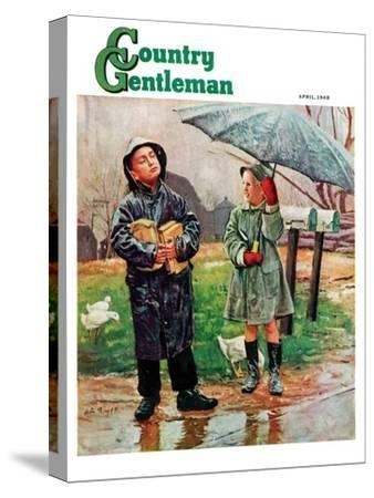 """""""Waiting for Bus in Rain,"""" Country Gentleman Cover, April 1, 1948"""