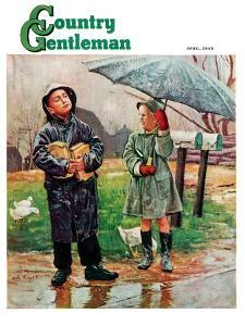 """Waiting for Bus in Rain,"" Country Gentleman Cover, April 1, 1948 by Austin Briggs"