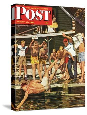 """""""Wet Camp Counselor,"""" Saturday Evening Post Cover, August 27, 1949"""