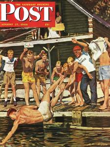 """Wet Camp Counselor,"" Saturday Evening Post Cover, August 27, 1949 by Austin Briggs"