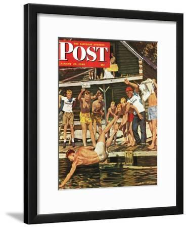 """Wet Camp Counselor,"" Saturday Evening Post Cover, August 27, 1949"