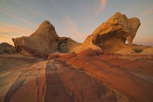 Fire Canyon Arch At Sunset In Valley Of Fire State Park, Nevada by Austin Cronnelly