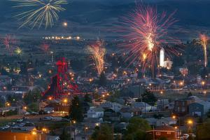 Independence Day Firework Celebration In The Historic Town Of Butte, Montana by Austin Cronnelly