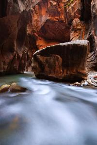 Large Boulder In The Virgin River Of The Narrows In Zion National Park, Utah by Austin Cronnelly