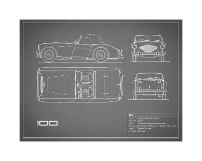 Austin-Healey 100-Grey-Mark Rogan-Giclee Print