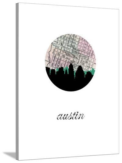 Austin Map Skyline-Paperfinch 0-Stretched Canvas Print